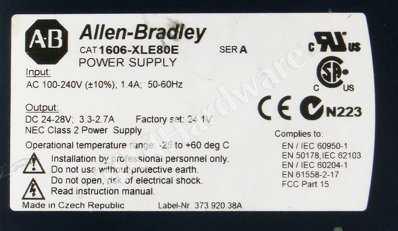 Plc Hardware Allen Bradley 1606 Xle80e Series A Used In Plch 15v 28v 4a Transmitter Power Supply 6
