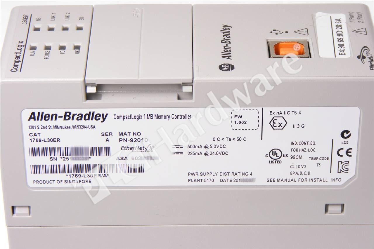 Plc hardware: allen-bradley 1769-l30er compactlogix 5370.