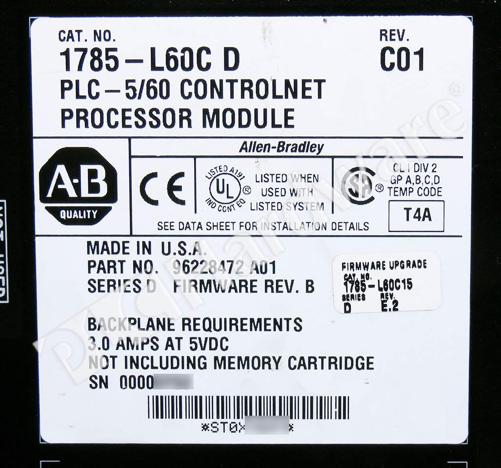 Plc hardware allen bradley 1785 l60c15 plc 5 60c for 60 1785