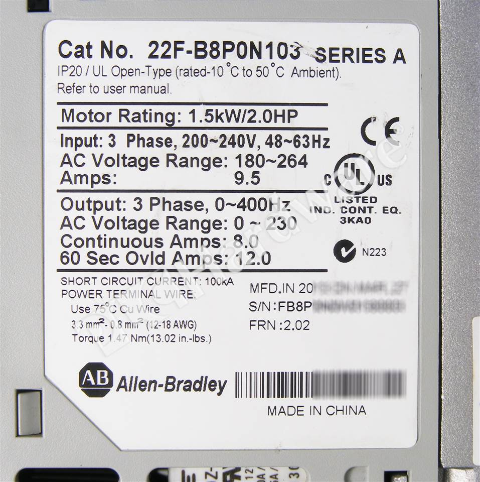 PLC Hardware: Allen-Bradley 22F-B8P0N103 PowerFlex 4M AC Drive 240V ...
