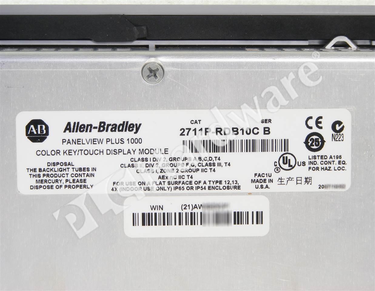 PLC Hardware: Allen-Bradley 2711P-B10C4A2 PanelView Plus 1000 Key ...