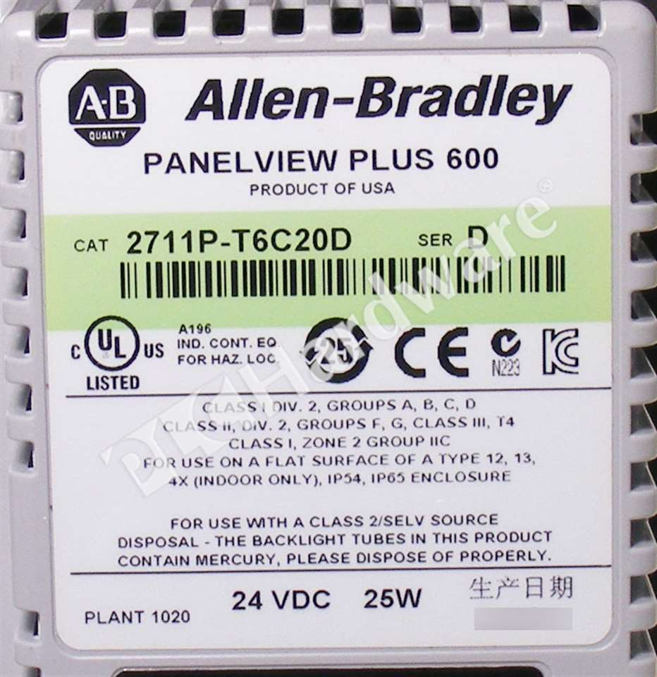 Details about Allen Bradley 2711P-T6C20D Series D PanelView Plus 600 Color  Touch/RS232/Enet DC
