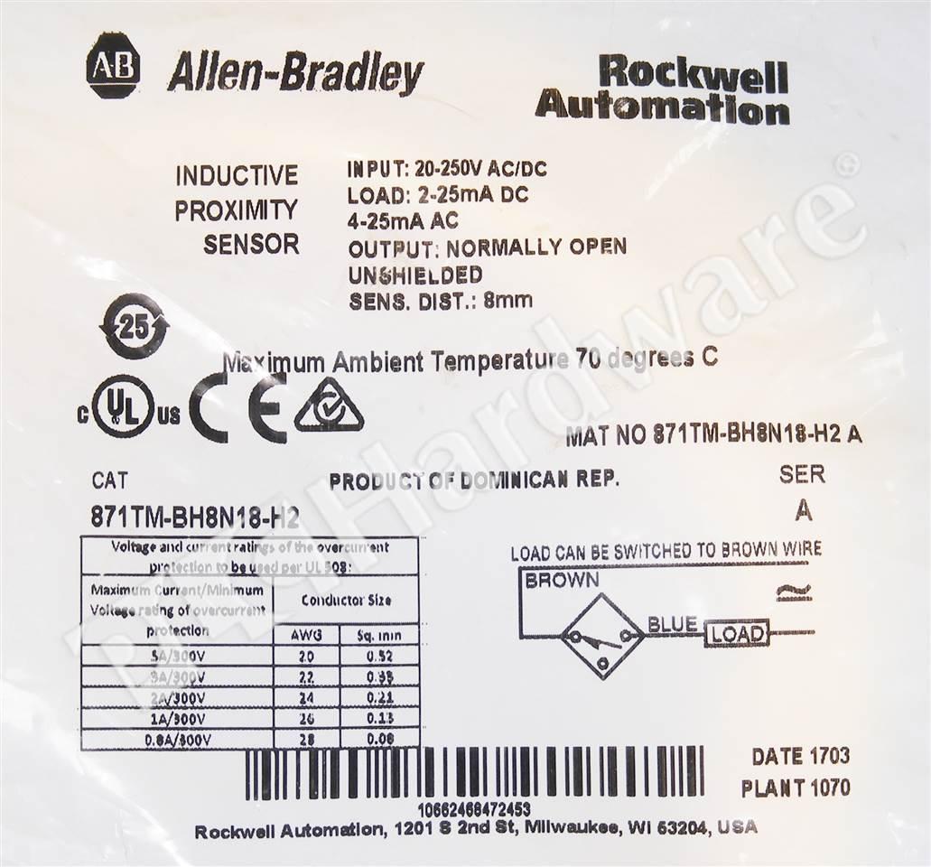 Plc Hardware Allen Bradley 871tm Bh8n18 H2 Proximity Sensor 2 Wire Switches Ac Dc 7