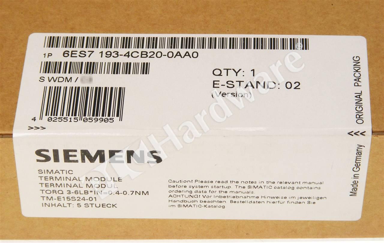 Siemens SIMATIC 6ES7193-4CB20-0AA0 Terminal Module E-Stand 02  Inhalt 5 Stck.