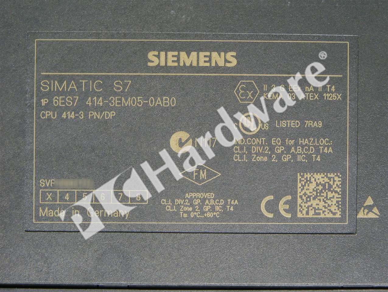 Details about Siemens 6ES7414-3EM05-0AB0 E-Stand 3 6ES7 414-3EM05-0AB0  S7-400 CPU 414-3 PN/DP